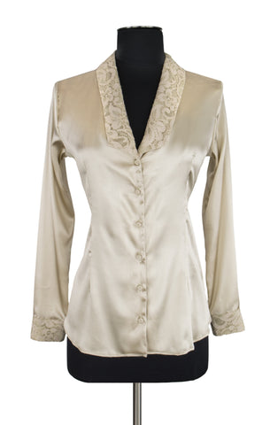 Beige Lace Trim Blouse