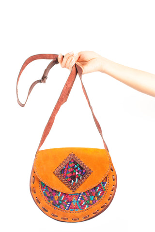 Guatemalan hand crafted handbag,  textile front panel. Perfect boho accessory.