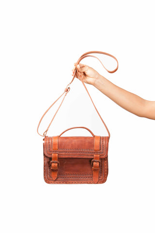 Mayan Gypsy - Rustic hand crafted leather satchel bag with hand tooled detail