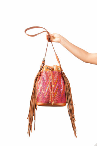 Vintage Leather Bucked hand bag with Guatemalan Bohemian textile, Boho Style