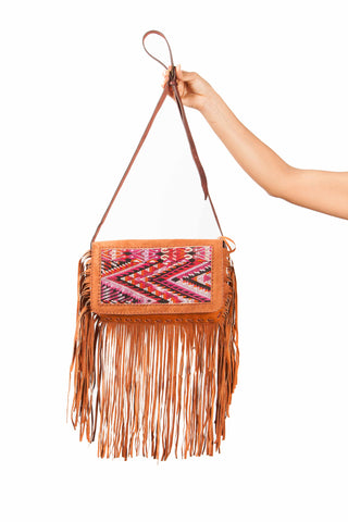 Guatemalan leather Gypsy fringe handbag. Perfect addition to your boho wardrobe.
