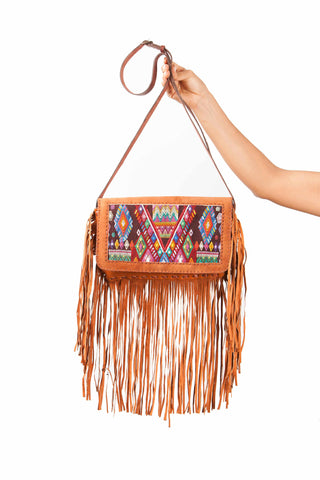 Guatemalan bag with huipil front panel. Perfect boho accessory.