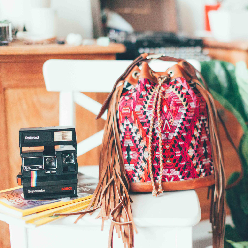 Vintage Tan Leather Bucked Fringe Bag with Guatemalan Boho Textile