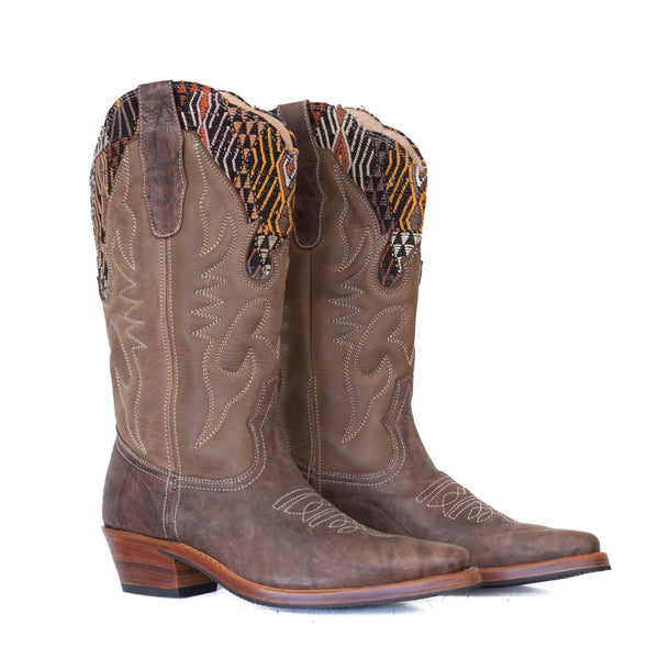 Guatemalan womens hand made leather cowboy boots with traditional textile