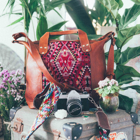 Bohemian hand crafted leather handbag with Guatemalan textile