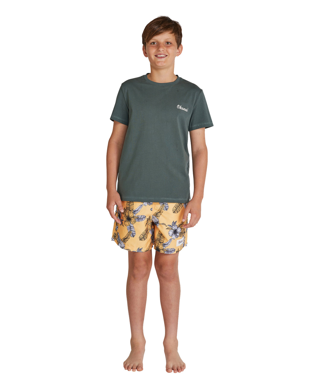 Kids T's - Long Board - Leaf Green