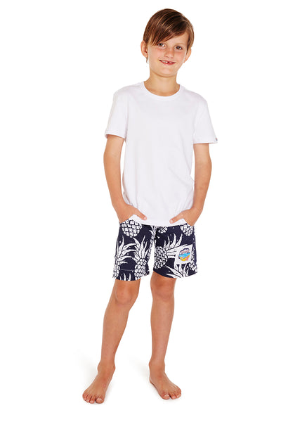 Kids Classic Shorts - Pineapples Navy