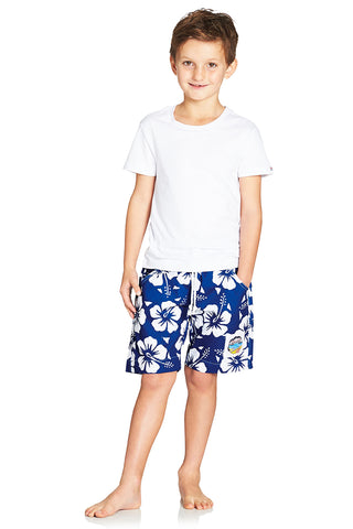 Kids Boardies - Hibiscus Blue