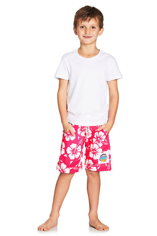 Kids Boardies - Hibiscus Glow Pink