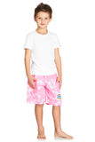 Kids Boardies Hibiscus Pale Pink Front