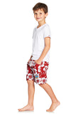 Kids Boardies - Hibiscus Red