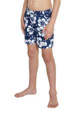 Kids Swim Short - Classic Hibiscus Navy
