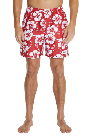 Swim Short - Red Classic Hibiscus - 17""