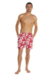 Swim Short - Classic Hibiscus Red - 17""