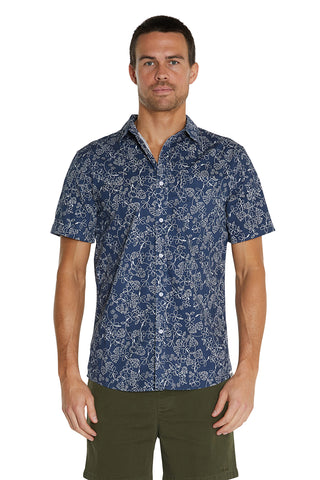 S/S Shirts - 100% Cotton Navy Byron Shirt