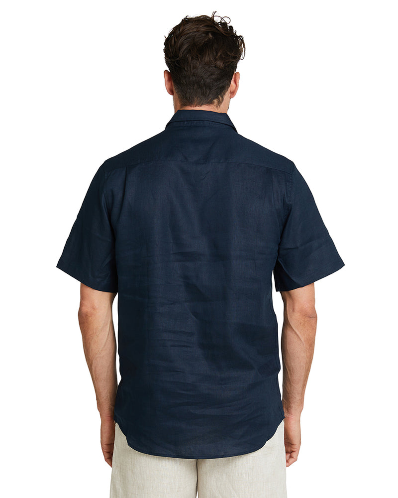 Linen Short Sleeve -Shirts - Navy