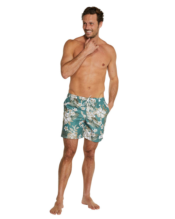 Swim Short - Tropic Shores - Khaki - 17""