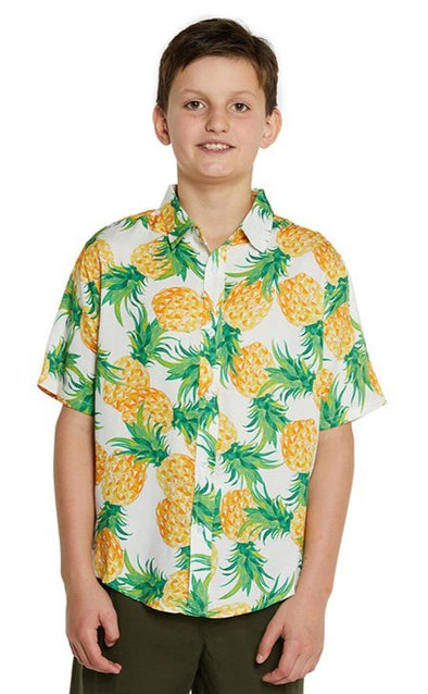 Kids S/S Shirt - 100% Rayon - Vintage Pineapple