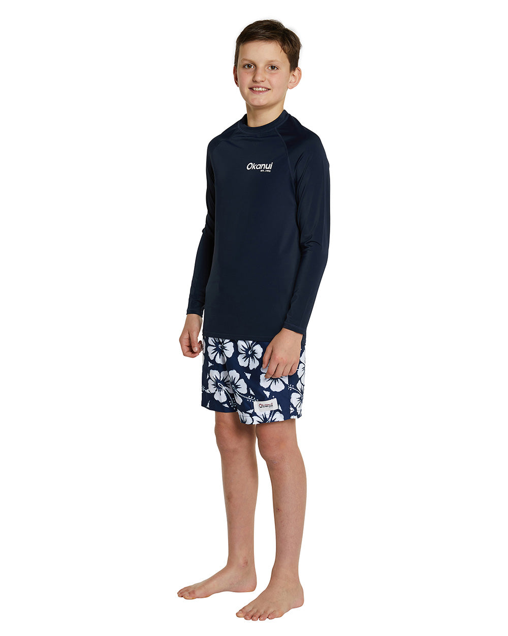 Kids Long Sleeve Rashie - Navy Logo Rash shirt