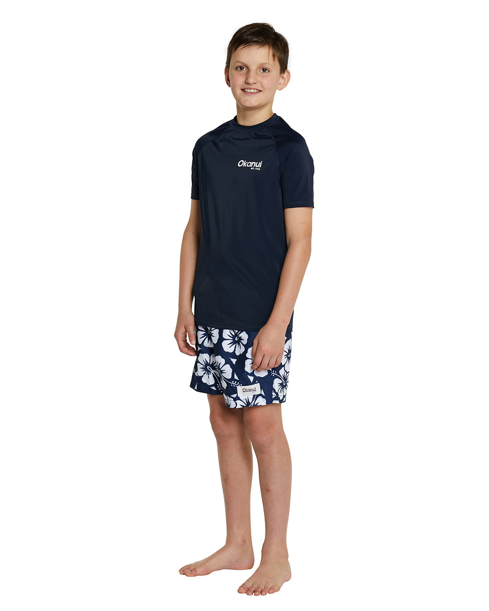 Kids Short Sleeve Rashie - Navy Logo Rash shirt