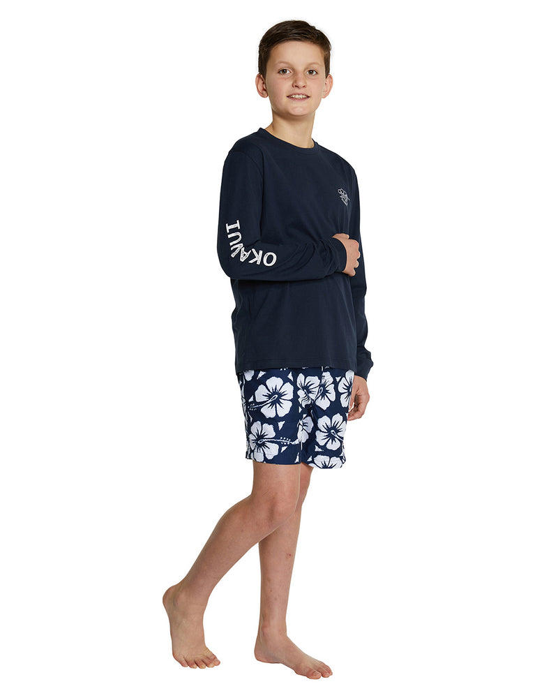 Kids L/S T'S - Crashing Waves - Navy