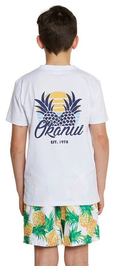Kids T'S - Sunset Pineapple - White