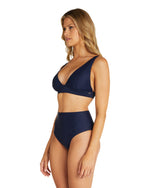 Womens Triangle Bikini Top - Navy