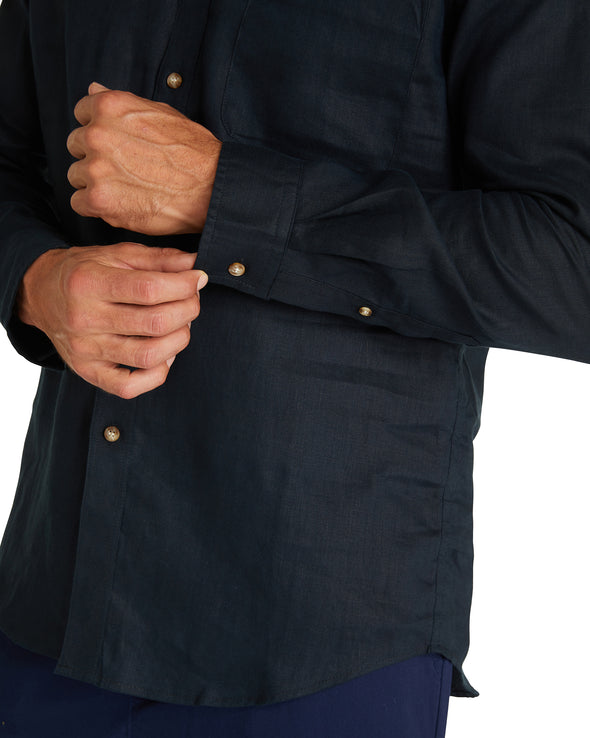 Linen Long Sleeve -Shirts - Navy