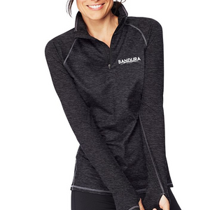 Ladies Bandura Cyber Black Quarter Zip Pullover