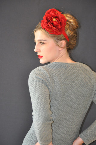 Remi, red rose headband