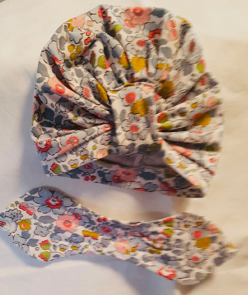 Liberty print turban on a white background