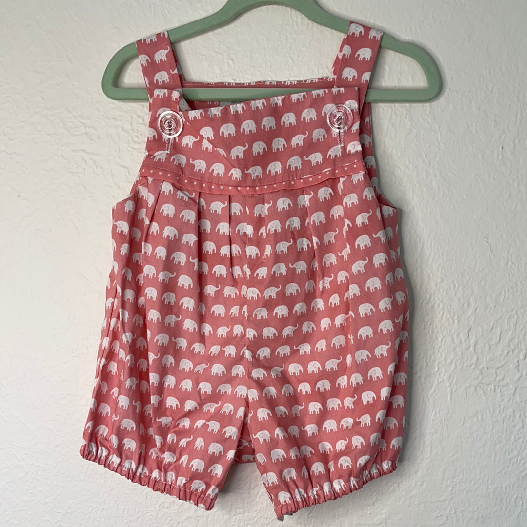 Romper baby Cotton - Soft pink elephant  0 to 12 months