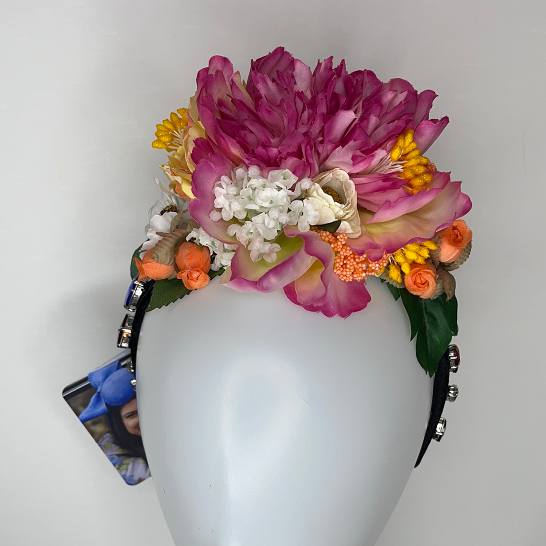 Dolce style floral headband jewelled
