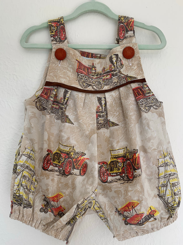 Baby Romper Vintage Retro Cotton - Ships and Cars 0 to 3 Months