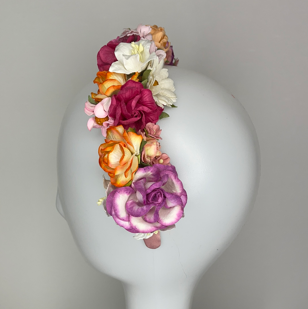 Paper flower headband  spring fling