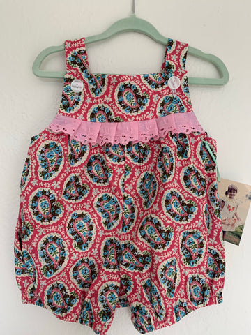Paisley Cotton Romper - 0 to 3 Months