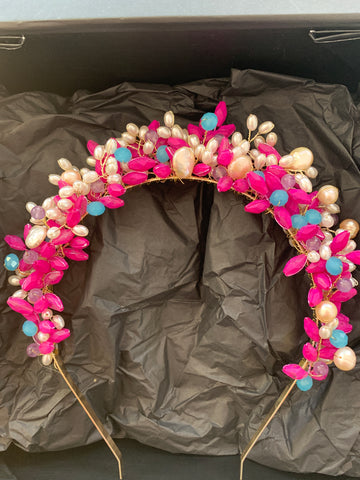 Beaded Crown - Pearl and Pink