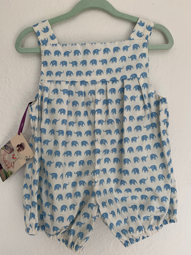 Baby Romper Cotton - Blue Elephants 0 to 3 Months