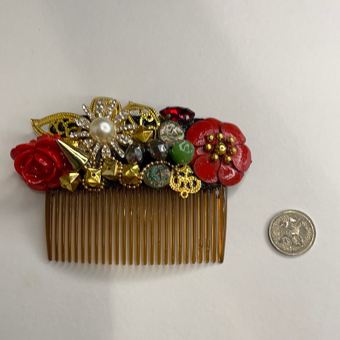 Society hair comb gold and red bejewelled