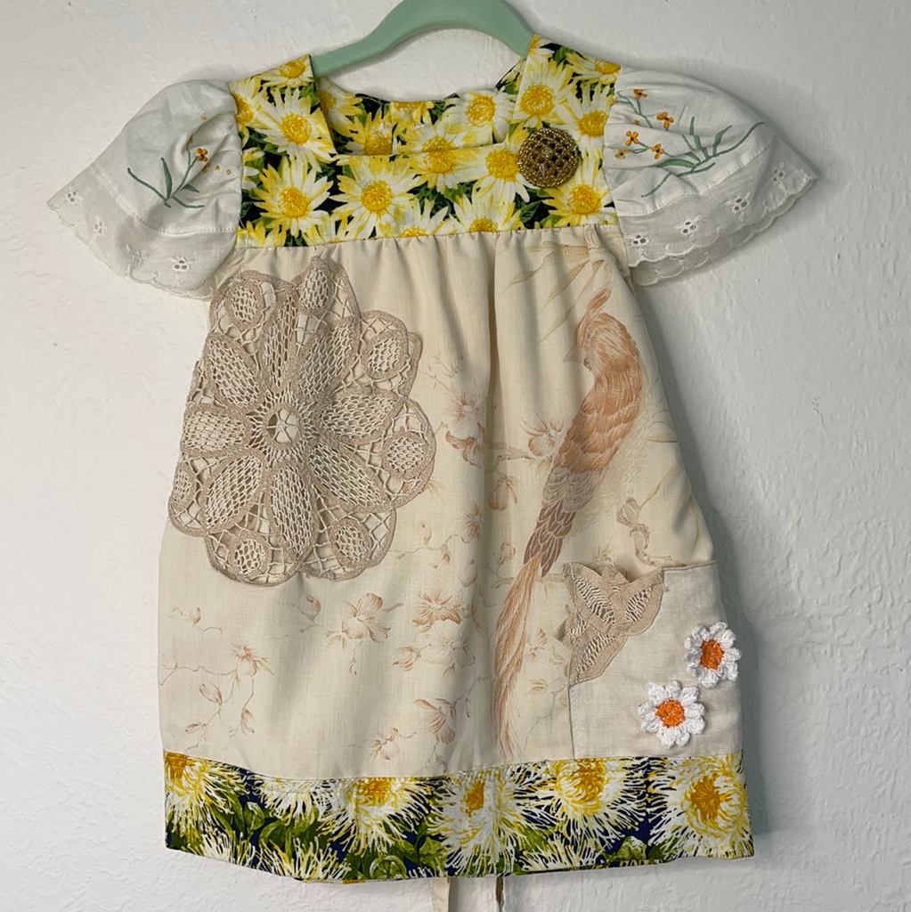 Baby's Vintage yellow and white floral tunic