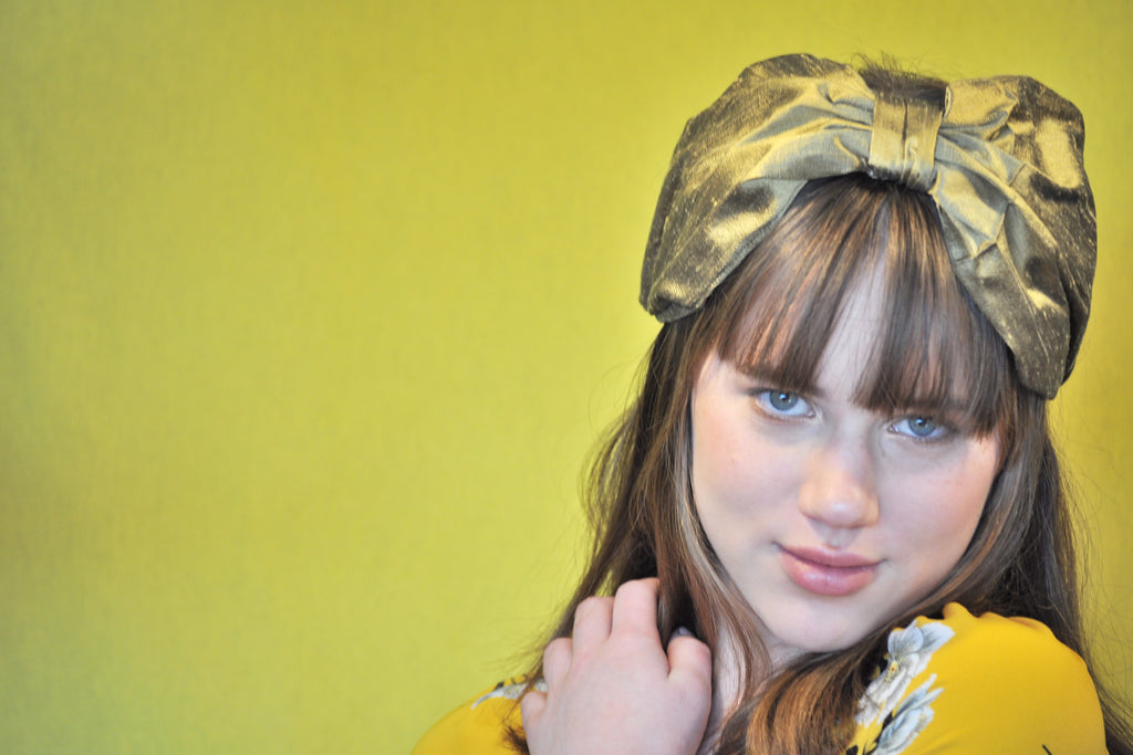 Rita, gold khaki silk headband