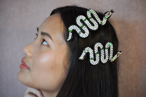 Snake jewelled  hair combs