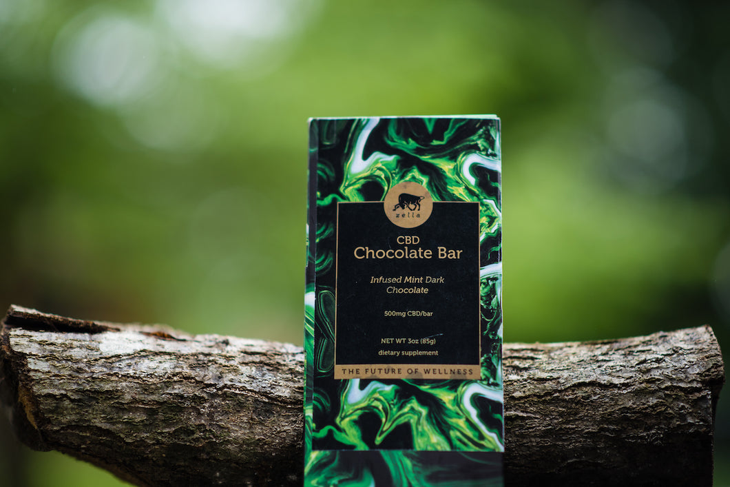 (CBD) 75% Cacao Dark Chocolate Bar with Mint [2 Pack]