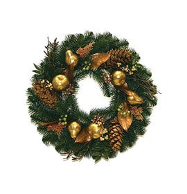 Gold autralian pine wreath unlit