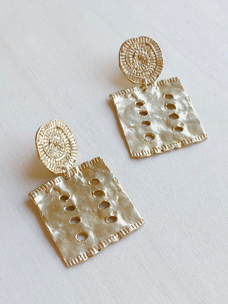 Textile Earrings - Brass