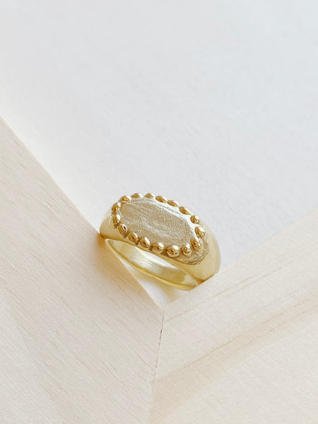 Beaded Signet Ring - Brass
