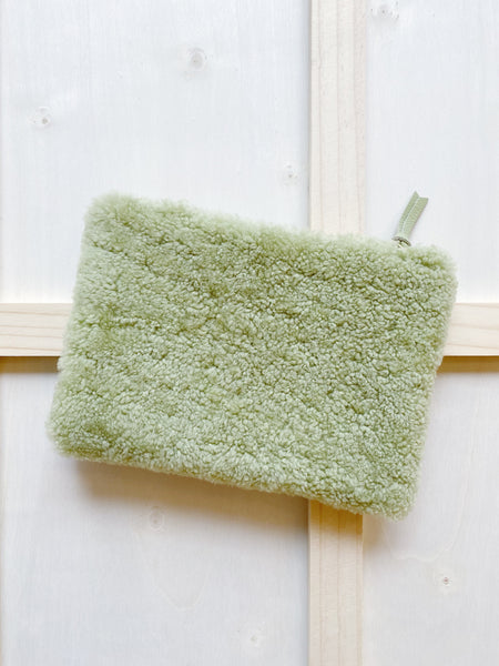 Avocado Shearling Pouch