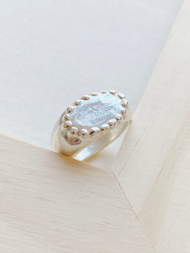 Beaded Signet Ring - Silver