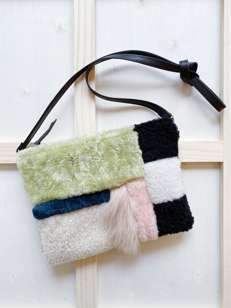 Bento Box Shearling Pouch Purse