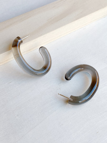 Smoke Glass Large Hoops